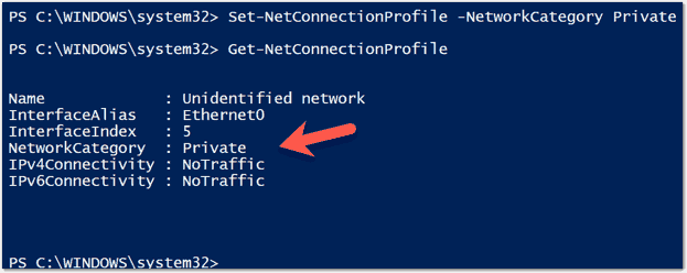 Changing the network connection type to private - The Remote Computer Refused The Network Connection Vpn