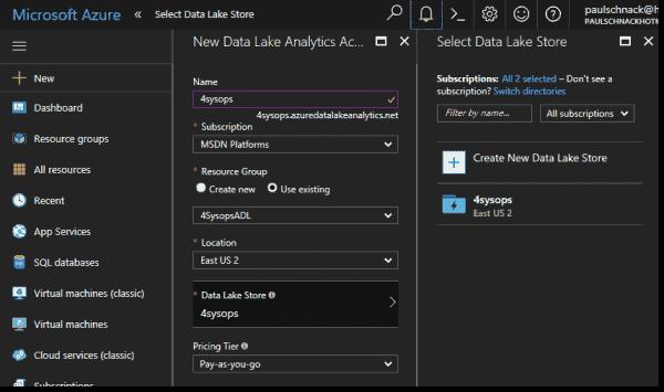 Creating an ADL Analytics account