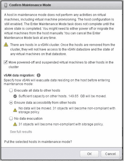 ESXi host maintenance mode in a vSAN cluster