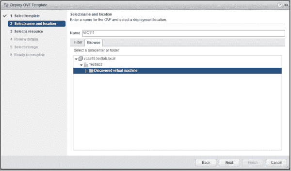 Deploying the VMware VIC OVA in vCenter