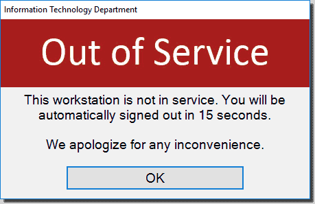 Out of Service pop up