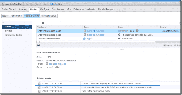 Related events in ESXi host maintenance mode