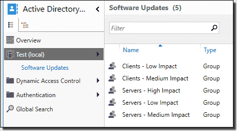 This environment groups clients into just two update ring subsets