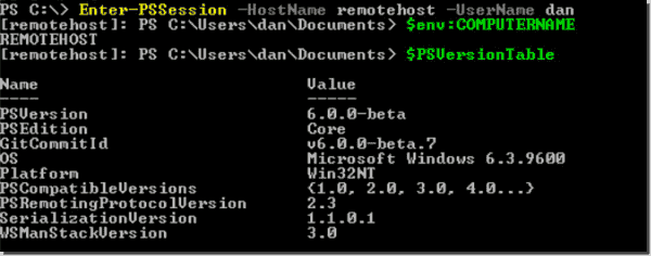 Using Enter PSSession from PowerShell Core with SSH