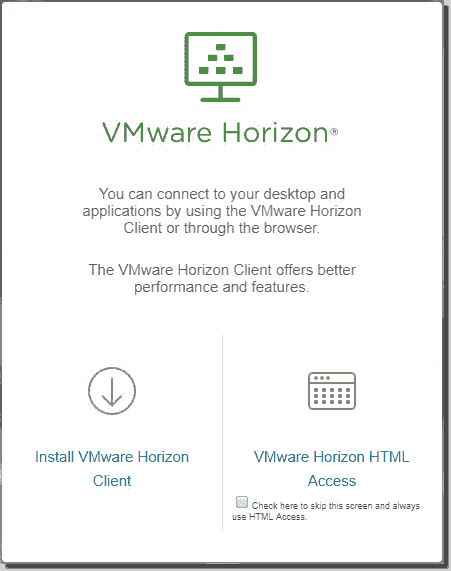 VMware Horizon View Client and HTML Access links