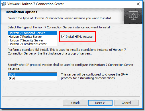 VMware Horizon View Connection Server install with HTML access