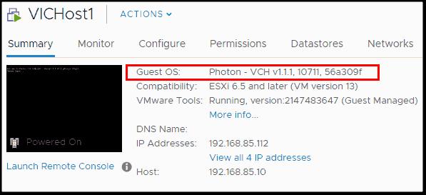 VMware Photon OS running on VICHost1