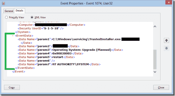 XML view of an upgrade event