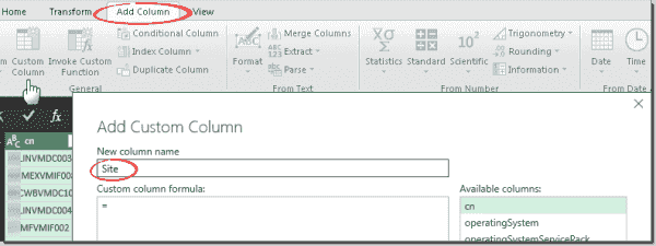 Add a custom column for site information