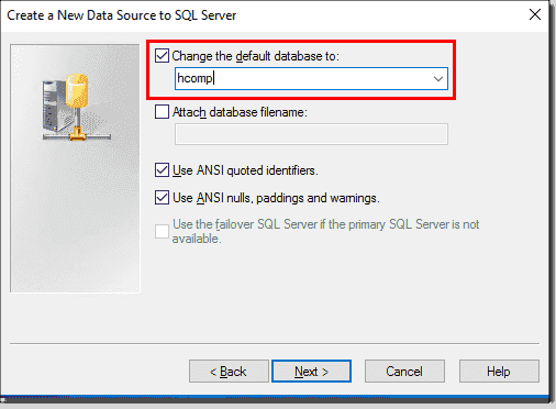 Change the default database for the connection to the Connection Server database