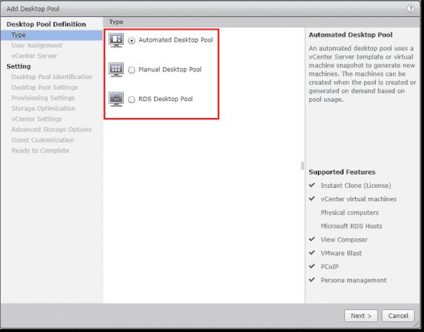Choose the type of desktop pool to create