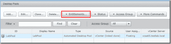 Click the Entitlements button to set up access to the new desktop pool