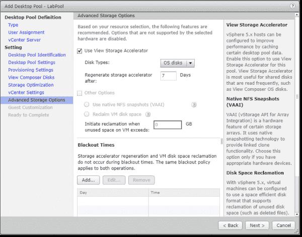Configure advanced storage options