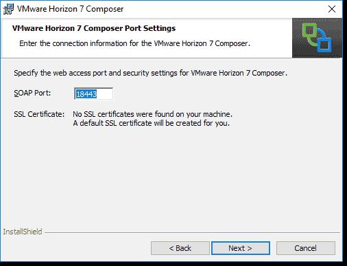 Configure or accept the Connection Server port configuration