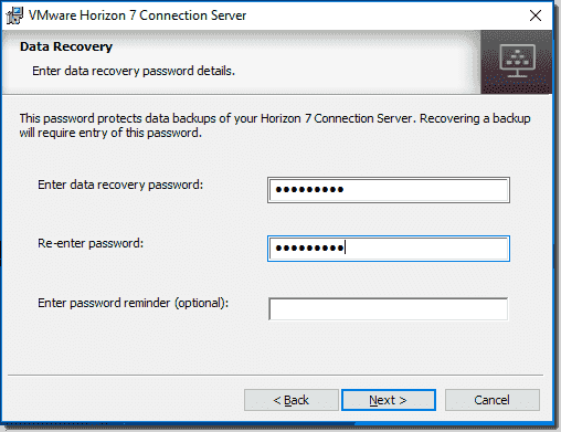 Horizon View Connection Server Data Recovery password