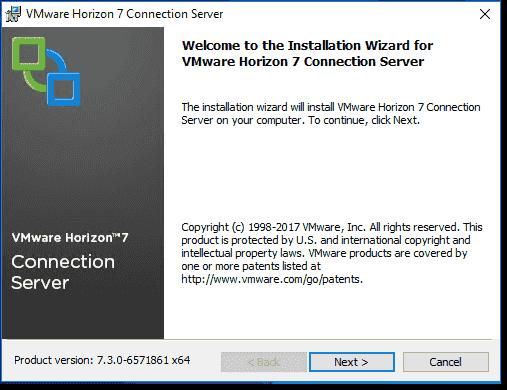 Horizon View Connection Server installation wizard