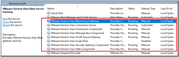 Open Windows services and verify Horizon View Connection Server services are running