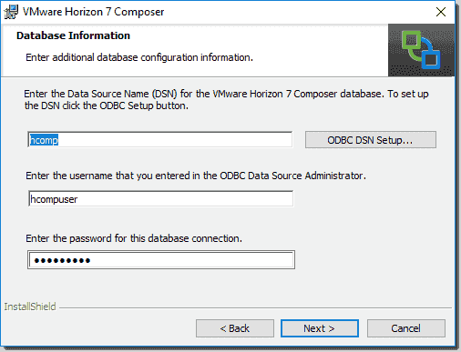 Populate the database information with the new ODBC connection
