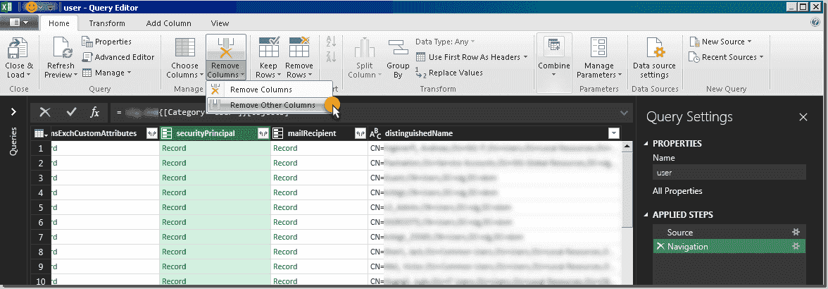 Excel Get & Transform – Extract information from Active