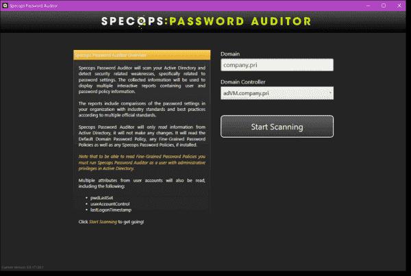 Specops Password Auditor user interface