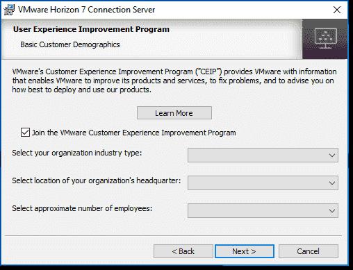 VMware CEIP options