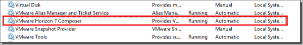 Verify the Horizon View Composer Server service after reboot