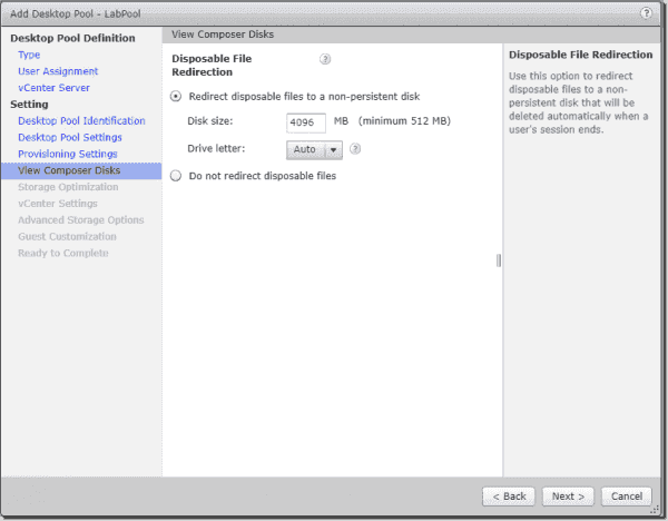 View Composer Disks settings