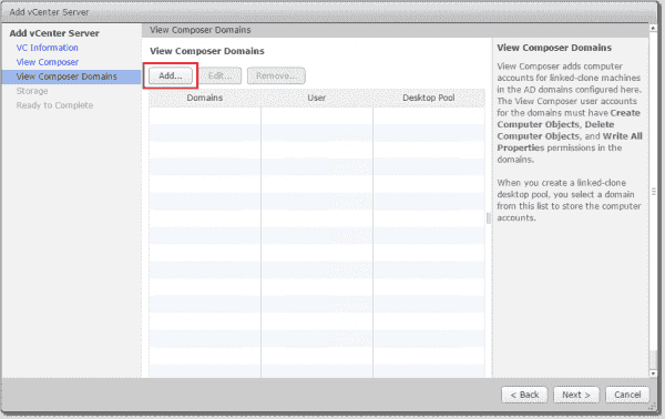 Adding View Composer domain