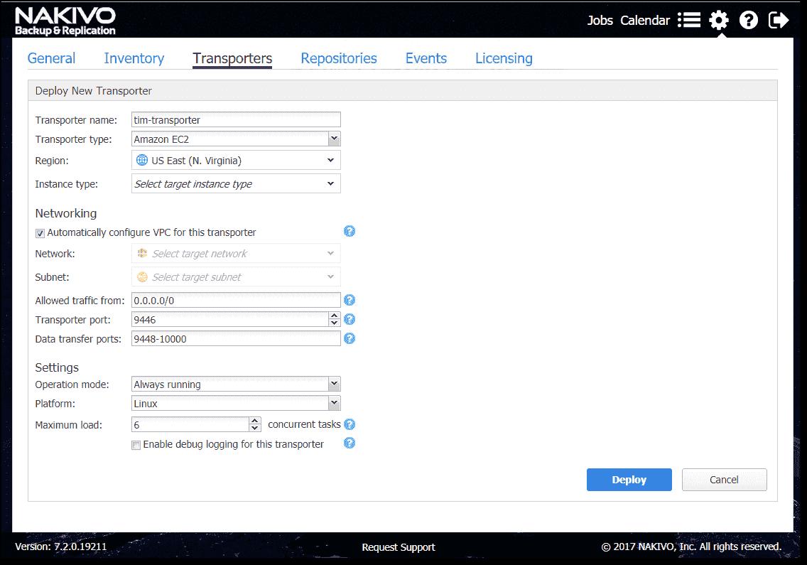 Adding a Transporter to AWS