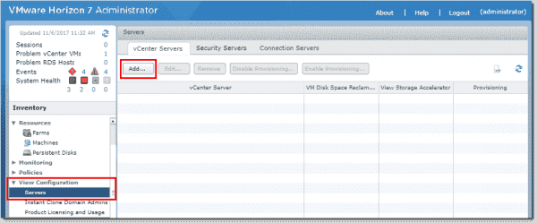 Adding a new vCenter connection