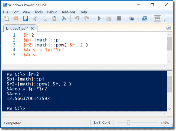 Calculating the area of a circle in PowerShell