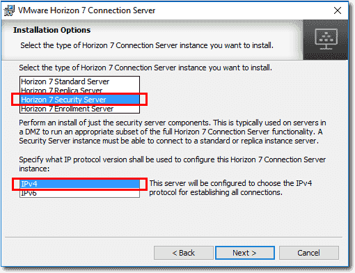 Choose to install Horizon View Security Server