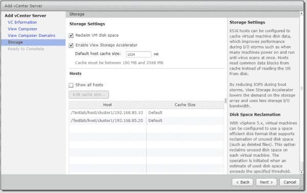 Configure storage settings