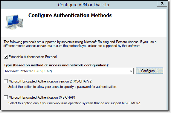 Configuring authentication methods for Always On VPN within NPS