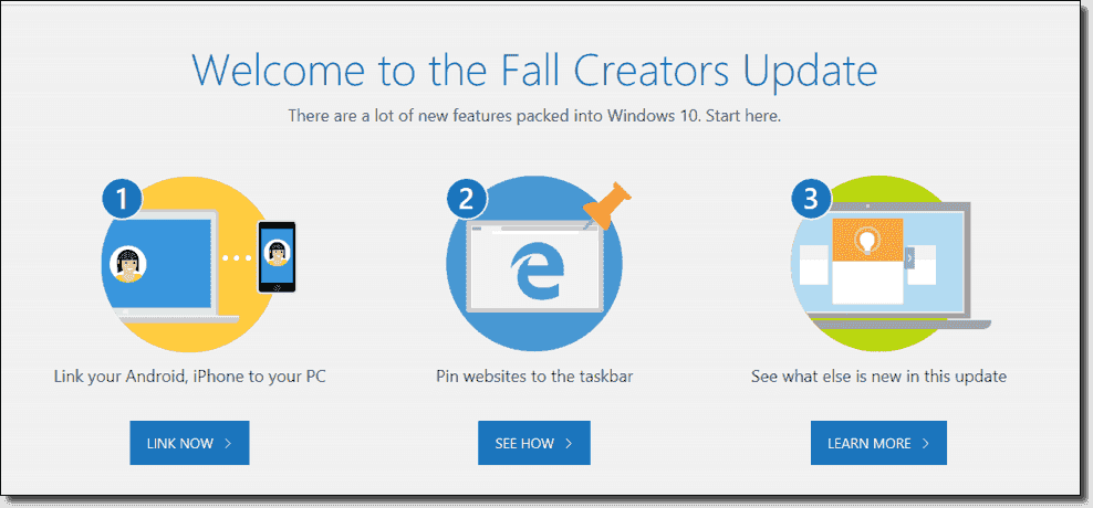Creators Update Edge welcome screen