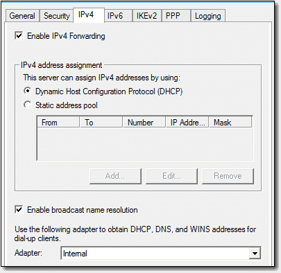 DHCP provides addresses to this Always On VPN setup