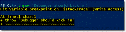 Setting PowerShell breakpoints on an exception