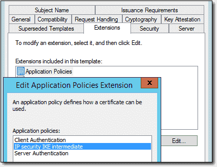 Enabling the IP Security IKE extension