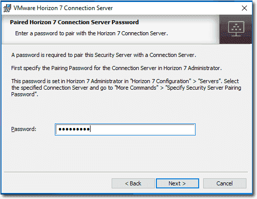 Enter the Security Server pairing password in the installer