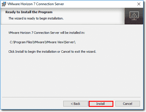 Horizon View Security Server installation is ready to begin