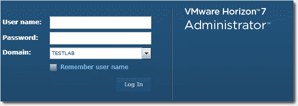 Log in to the VMware Horizon View Connection Server administrator console