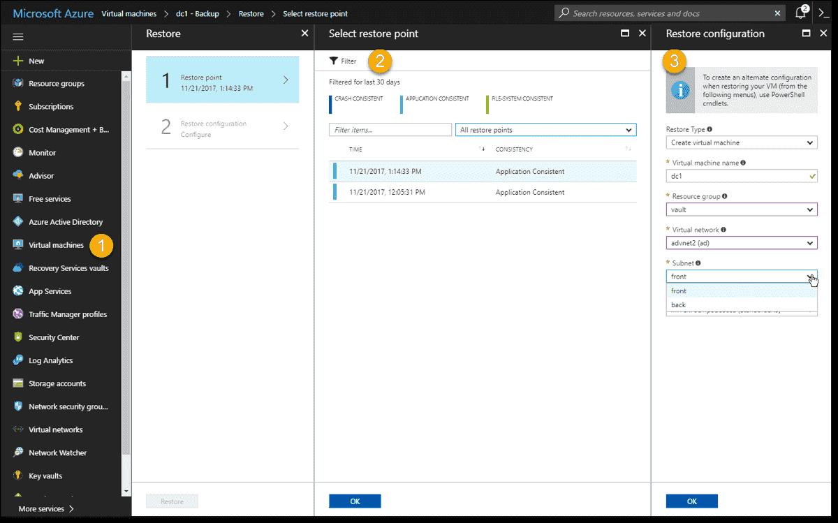 Restoring a VM to a different vNet