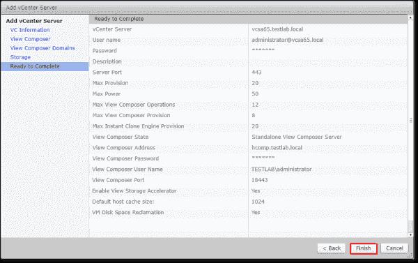 Review the Horizon vCenter Server configuration settings