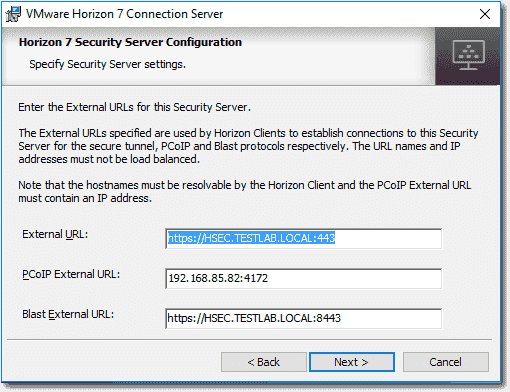 Specify or customize the Horizon Security Server URLs