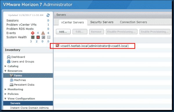 The configured Horizon vCenter server connection