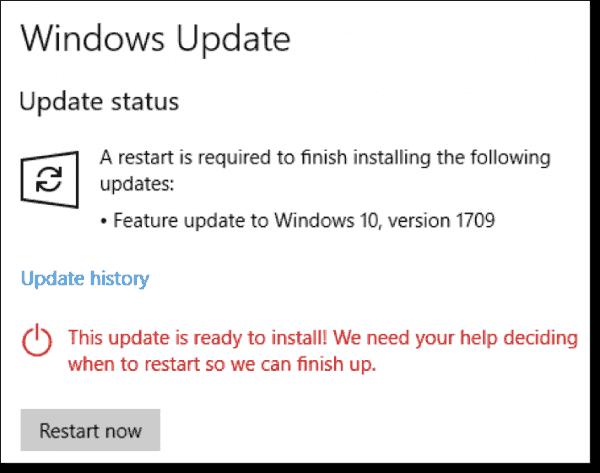 Version 1709 restart