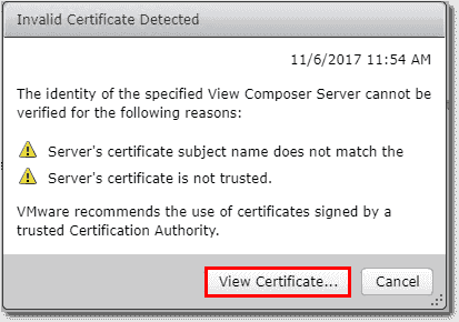 Viewing the Horizon View Composer certificate