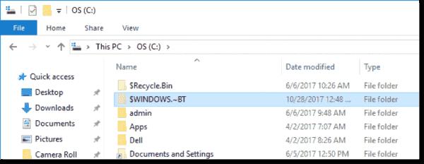 Windows upgrade folder