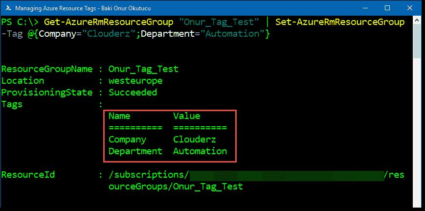 Managing Azure resource tags using PowerShell