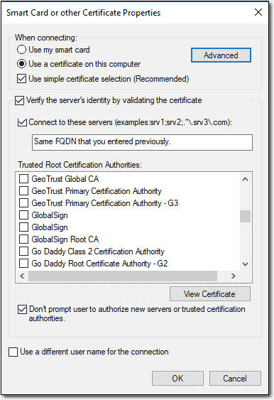 Controlling the local certificate used for Always On VPN authentication
